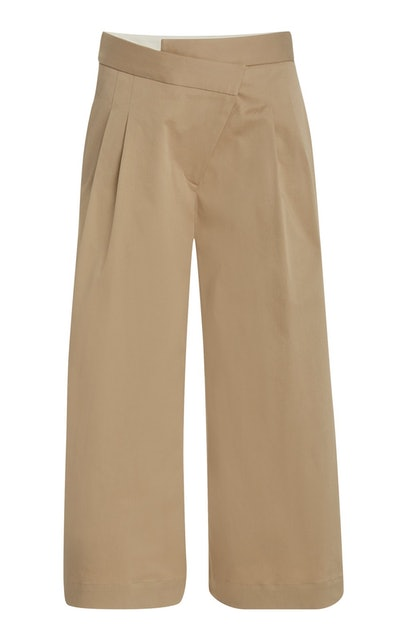 Cropped Pleated Stretch-Cotton Wide-Leg Pants