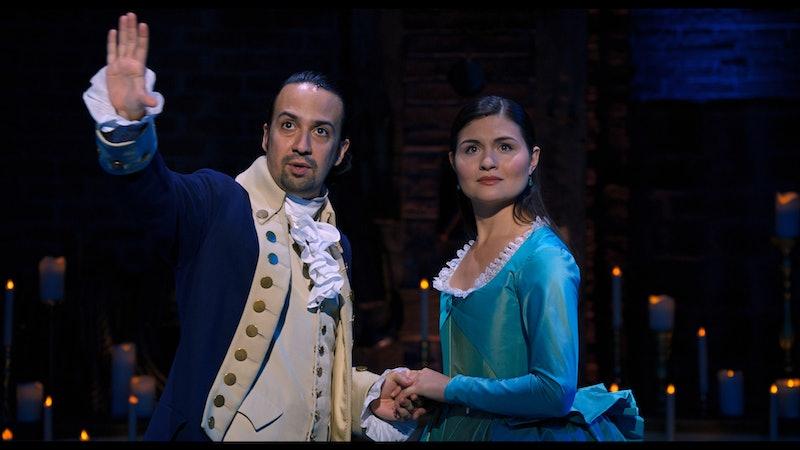 Lin-Manuel Miranda and Phillipa Soo star as Alexander and Eliza Hamilton in the Broadway show Hamilton. (via Disney+ press site)
