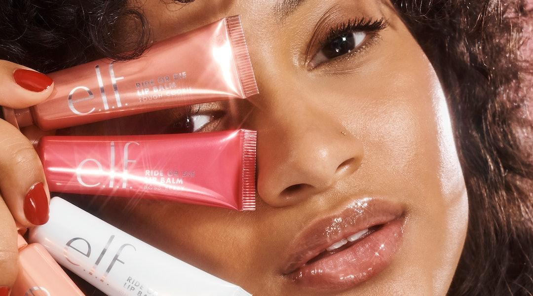 e.l.f. Cosmetics' new Ride or Die Lip Balm with model.
