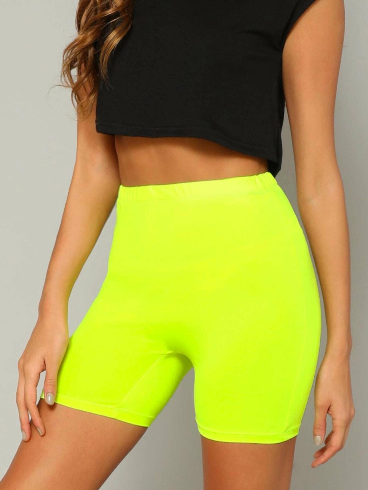 SHEIN Neon Yellow Solid Legging Shorts