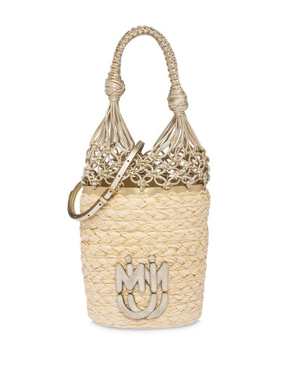 Straw Mesh Bucket Bag