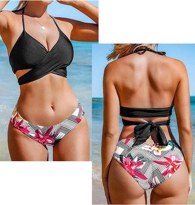 CUPSHE Women's Fresh Leaves Printing Cross Padding Bikini Set