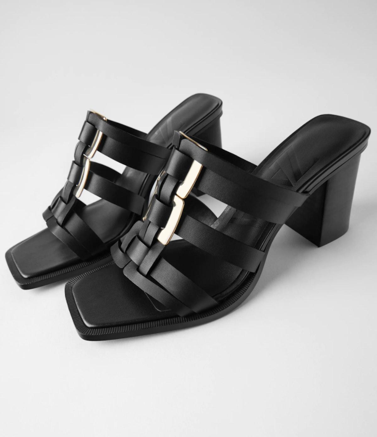 Zara Metal Trim Leather Heeled Sandals