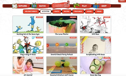 Kids can learn from a plethora of activities on the Seussville website.