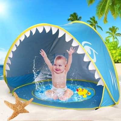 iGeeKid Baby Beach Tent Pool, Shark Pop Up Portable Sun Shelter Tent with Pool UPF 50+ UV Protection