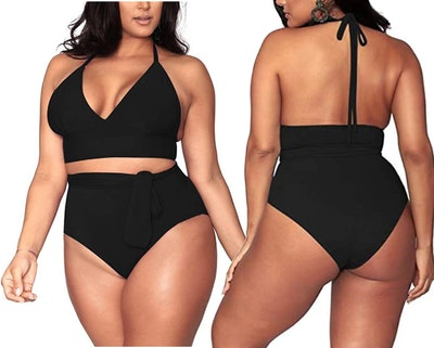 Sovoyontee Plus Size,High-Waisted Swimsuit