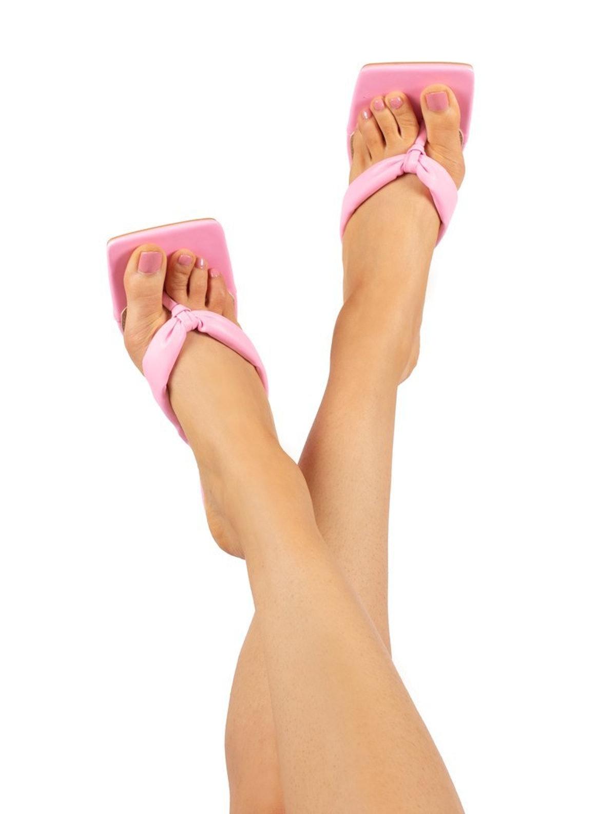 Public Desire Blondie Pink Toe Thong Heeled Sandals