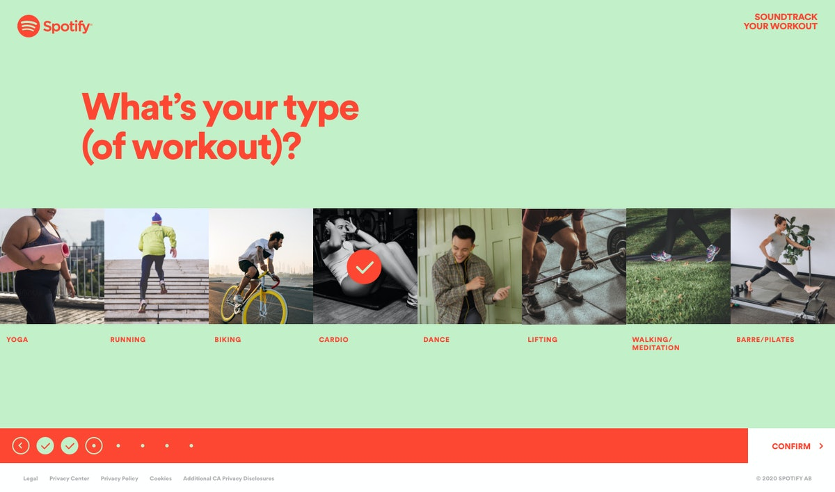 The personalized workout playlists on Spotify are curated for your individual routines and preferenc...