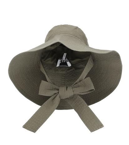 Woven cotton wide-brim hat