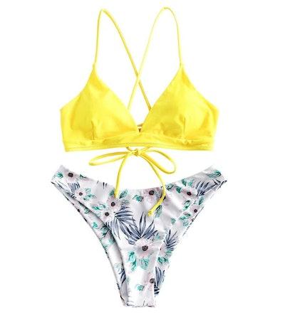 ZAFUL Women Braided Straps Lace Up Bikini Set