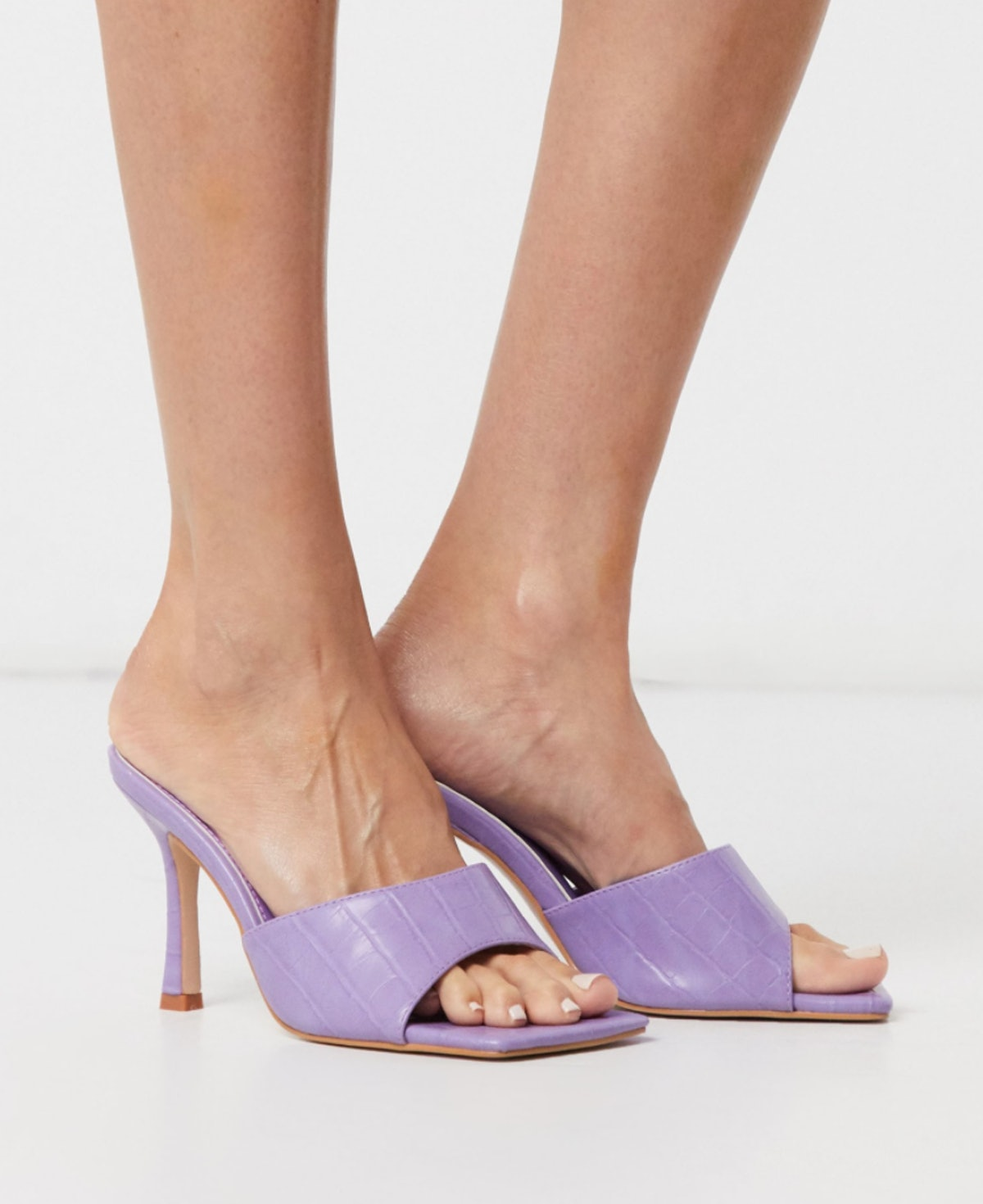 Public Desire Harlow Square Toe Mule Sandals in Lilac