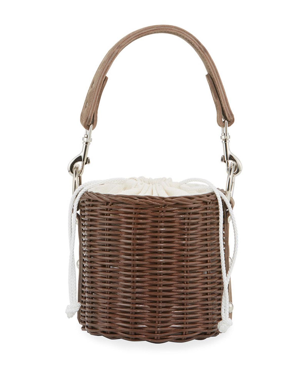 Lu Wicker Crossbody Bucket Bag