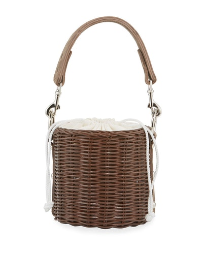 Lu Wicker Crossbody Bucket Bag