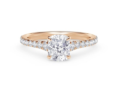 Icon Cushion Setting Engagement Ring with Diamond Band