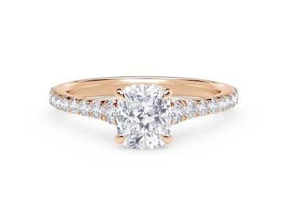 Icon Cushion Setting Engagement Ring with Diamond Band