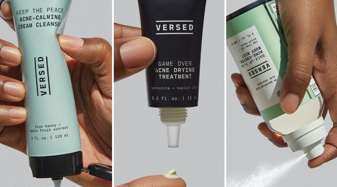 Spray, drying treatment, and cleanser from Versed's new acne collection.
