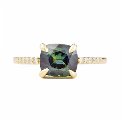 Eva Teal Cushion Sapphire Diamond Engagement Ring