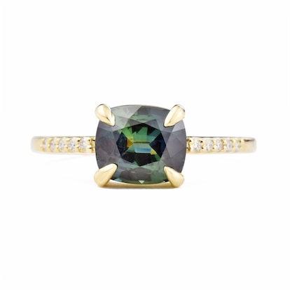 Eva Teal Cushion Sapphire Diamond Engagement Ring