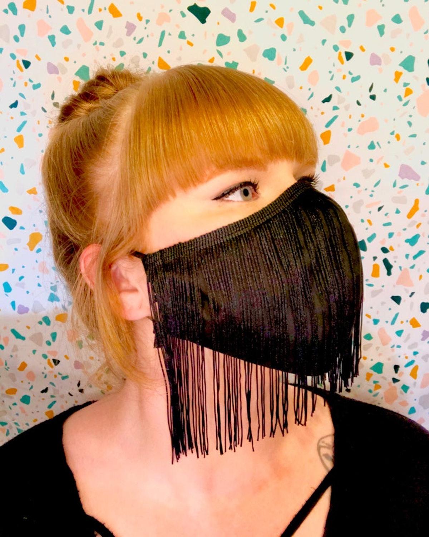"RexiCoUS 6"" Fringe Black Face Mask Reusable with Filter Pocket"