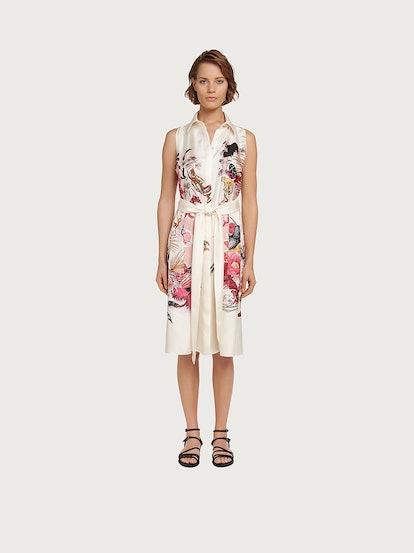 Sleeveless Printed Silk Shirt Dress