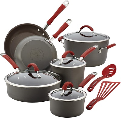 Rachael Ray Hard Anodized Nonstick Cookware Pots and Pans Set (12 Pieces)