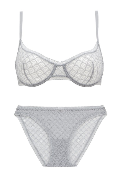 Eres Chevron Underwire Stretch-Lace Full Cup Bra and Torsade Leavers Lace Brief