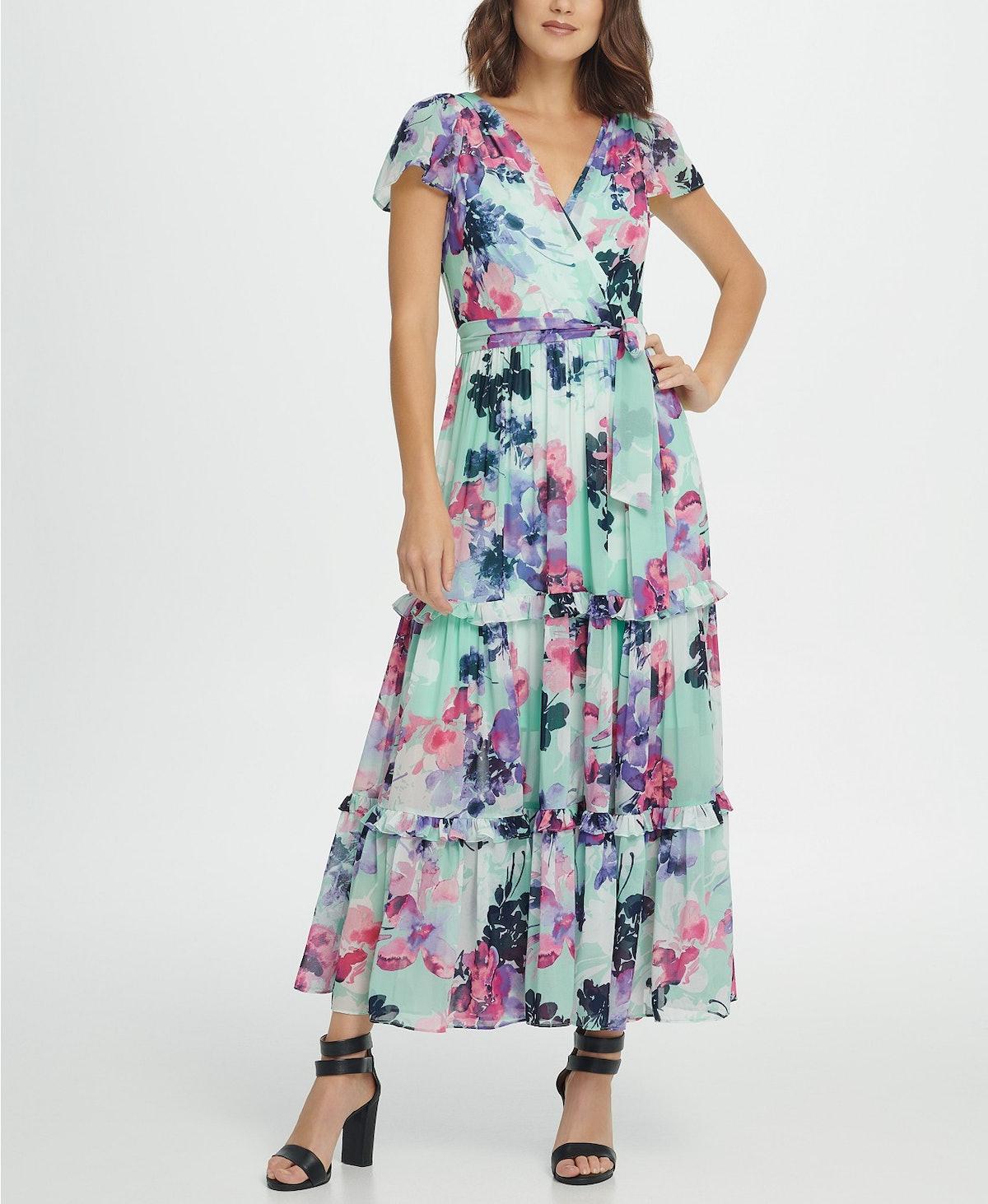 DKNY Flutter Sleeve Surplice Tiered Maxi Dress