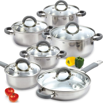 Cook N Home Stainless Steel Cookware Set (12 Pieces)