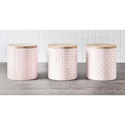 Blush Embossed Geometric Storage Canisters 3pc