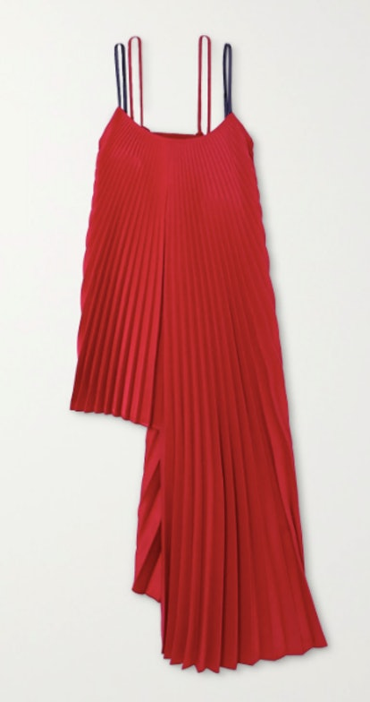Pleated Asymmetric Ribbed-knit and Crepe Top