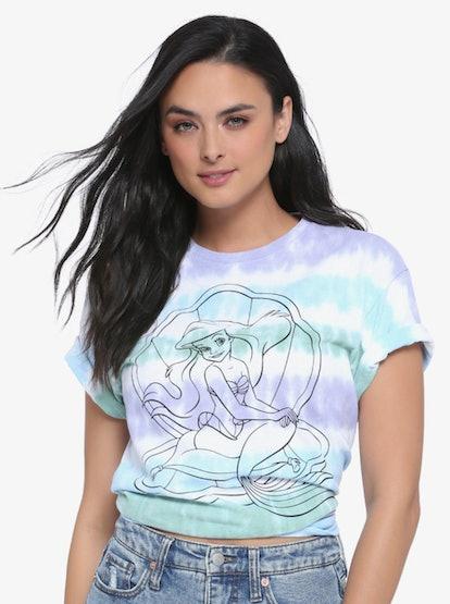 Disney The Little Mermaid Ariel Striped Tie-Dye Women's T-Shirt - BoxLunch Exclusive