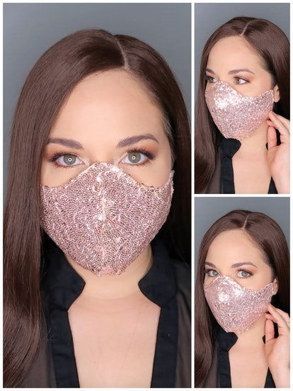 CottonFaceMaskStore 3 Layer Fitted Filter Pocket Mini Sequins-Cotton Face Mask