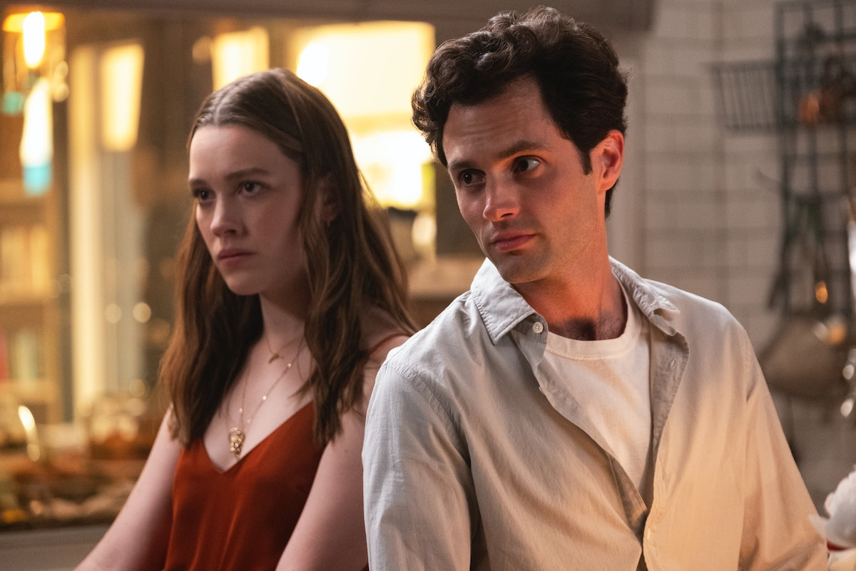 Victoria Pedretti and Penn Badgley in 'You' on Netflix
