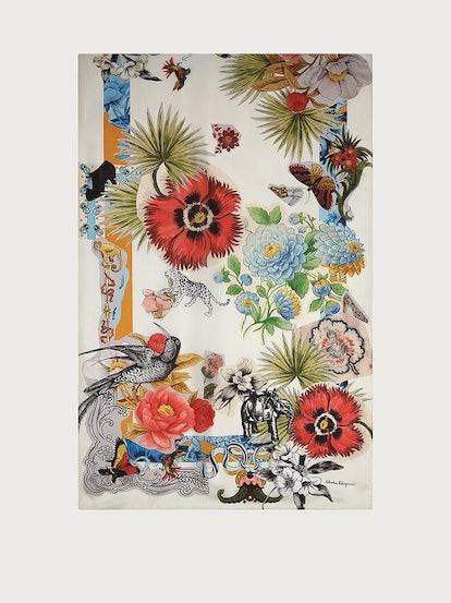 Collage Print Silk Stole