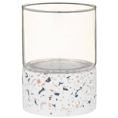 Hurricane Terrazzo Candle Holder - White