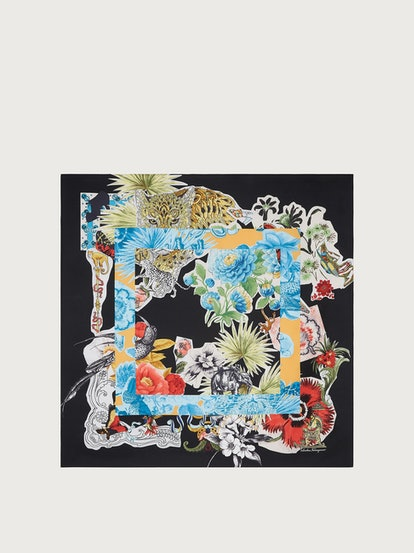 Collage Print Silk Scarf