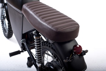 Studio shot of the BlackTea electric moped close-up