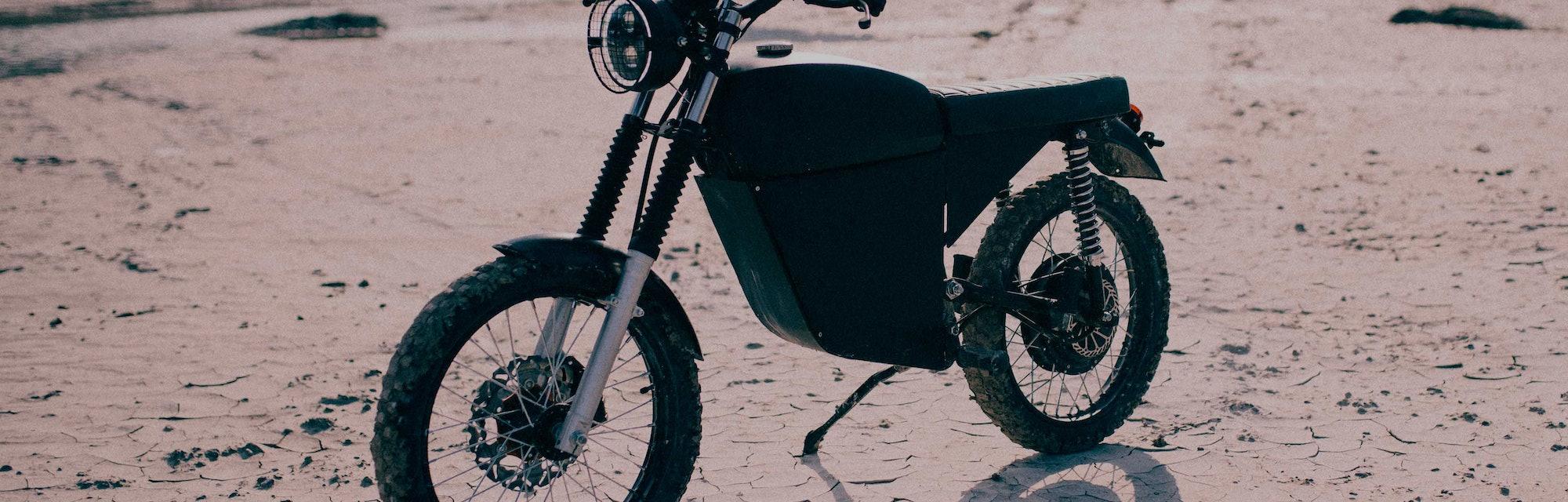 BlackTea moped outdoors.