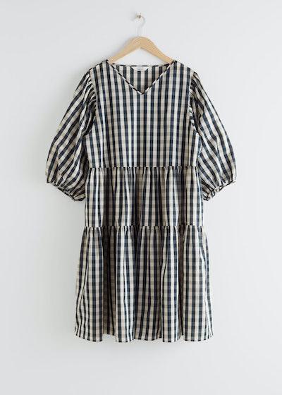 Voluminous Puff Sleeve Midi Dress