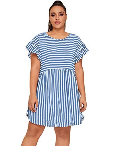 Milumia Plus Size Striped Butterfly Sleeve Smock Short Dress