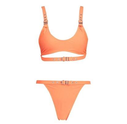 Neon Eyelet Crop Bikini