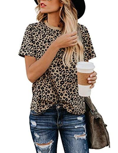 BMJL Women's Casual Cute Shirts Leopard Print Tops