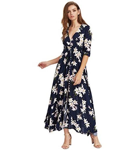 Milumia Button Up Split Floral Print Maxi Dress