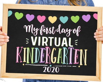 First Day of Virtual Kindergarten Printable Sign