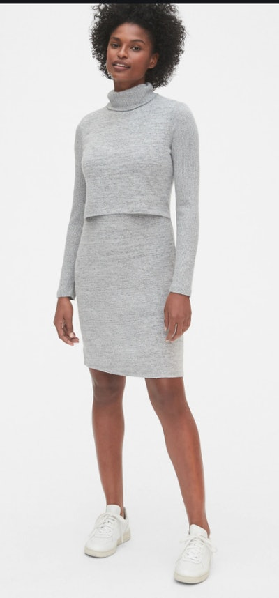 Maternity Softspun Layered Nursing Turtleneck Dress