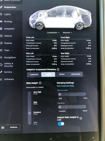 Tesla dynamic suspension options.
