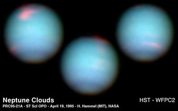 Neptune as viewed through the Hubble Space Telescope.