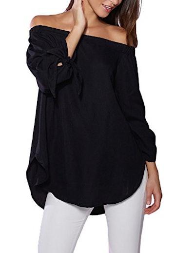 just quella Women's Off Shoulder Loose Shirt Blouse