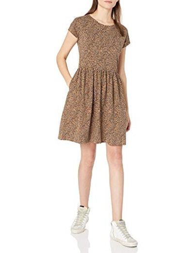 Goodthreads Relaxed-Fit Heavyweight Cotton Slub Short-Sleeve Gathered-Waist Dress