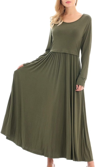 Smallshow Women's Long Sleeve Maxi Nursing Dress Maternity